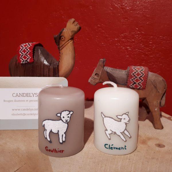 Petits moutons de crèche Candelys Bougie